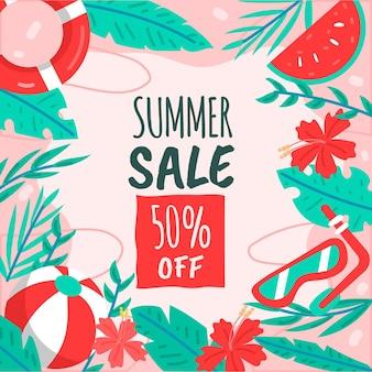 Design de vendas sazonais de verão desenhados à mão