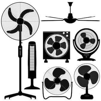 Design de ventilador de teto de mesa em pé.