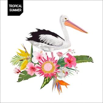 Design de verão tropical com ave pelicano