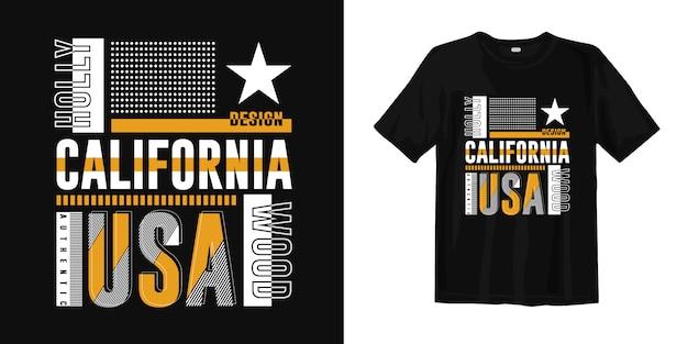 Design de vestuário de t-shirt na moda de califórnia, hollywood, eua para impressão