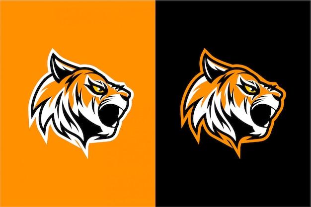 Design de vetor de cabeça de tigre com raiva