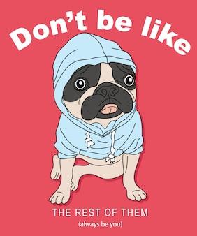 Design de vetor de cão bonito para impressão de camisa de t