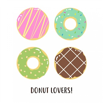 Design de vetor de coleção de rosquinhas felizes fofos