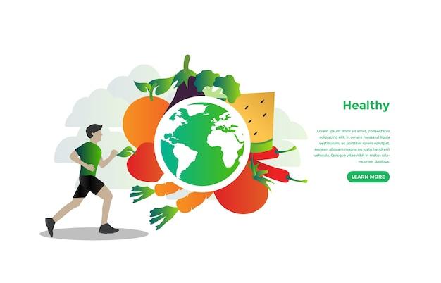 Design de vetor de conceito de comida saudável