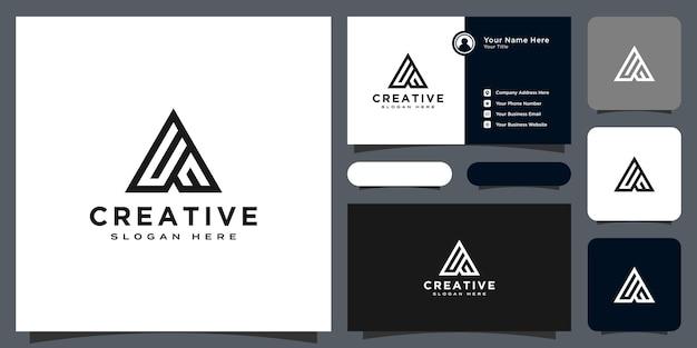 Design de vetor de estilo de linha de logotipo da letra inicial a