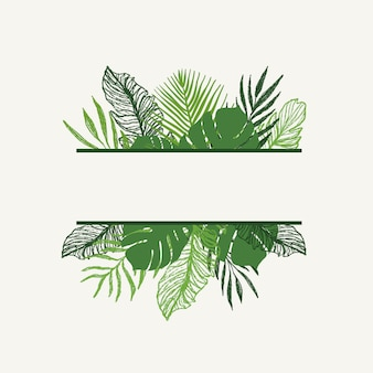 Design de vetor de folhas tropicais de verão na moda