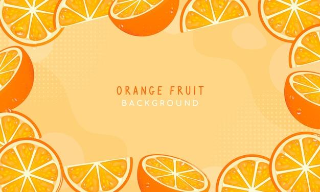 Design de vetor de fundo de quadro de frutas frescas de laranja