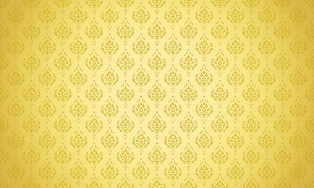 Design de vetor de fundo dourado padrão tailandês luxuoso
