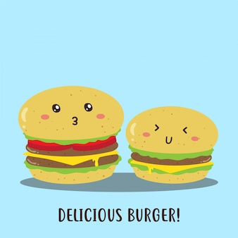 Design de vetor de hambúrgueres deliciosos felizes fofos