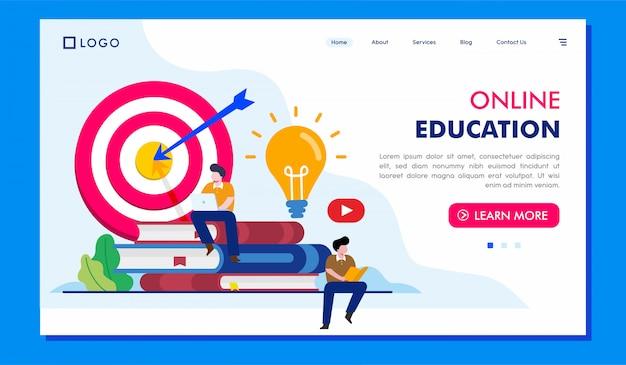 Design de vetor de ilustração de site de página de destino de educação on-line