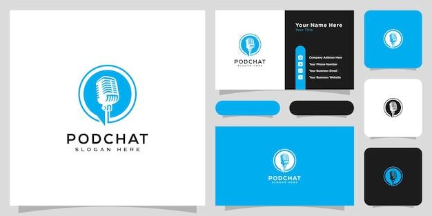 Design de vetor de logotipo de chat de podcast e cartão de visita