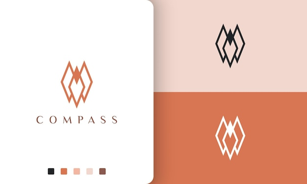 Design de vetor de logotipo de direção ou bússola com estilo simples e minimalista