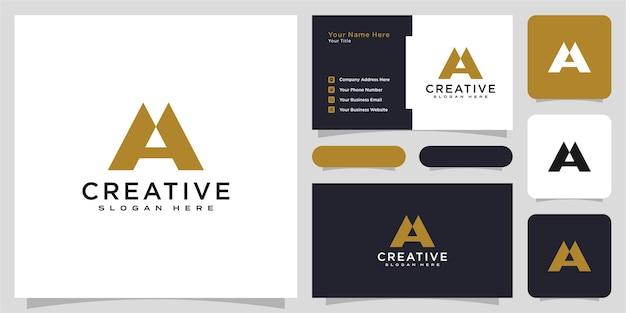 Design de vetor de logotipo de letra a e cartão de visita iniciais