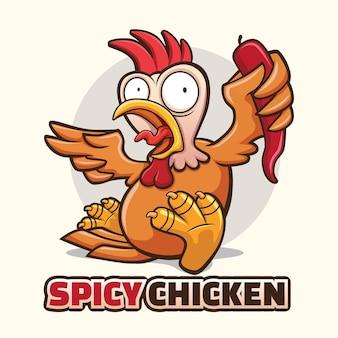 Design de vetor de logotipo de mascote de frango picante