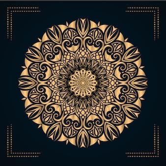 Design de vetor de mandala de luxo com estilo arabesco dourado