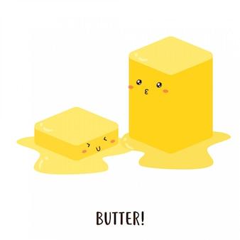 Design de vetor de manteiga derretida feliz fofo