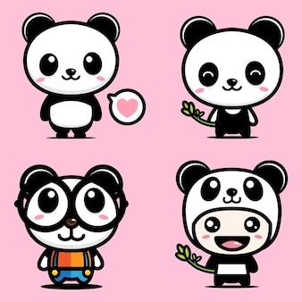 Design de vetor de mascote panda bonito