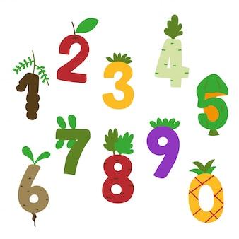 Design de vetor de número de comida