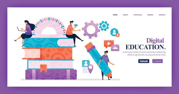 Design de vetor de página de destino da educação digital
