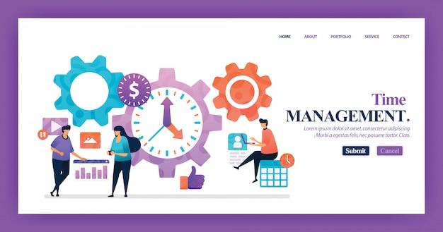Design de vetor de página de destino de gerenciamento de tempo