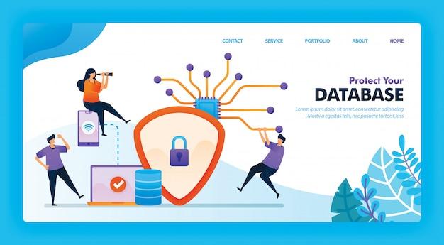 Design de vetor de página de destino de proteja seu banco de dados.