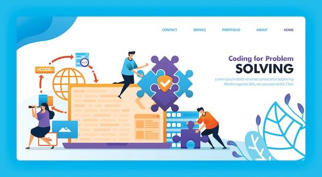 Design de vetor de página inicial da codificação para solução de problemas.