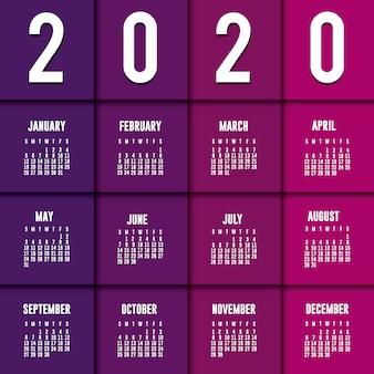 Design de vetor de planejador de calendário 2020 roxo