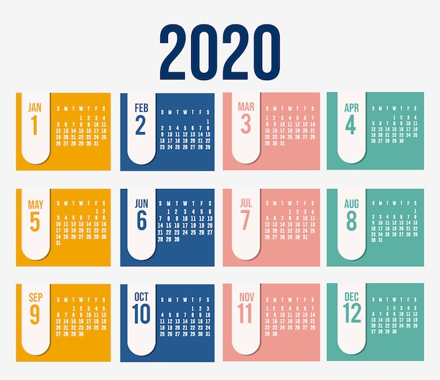 Design de vetor de planejador de calendário 2020