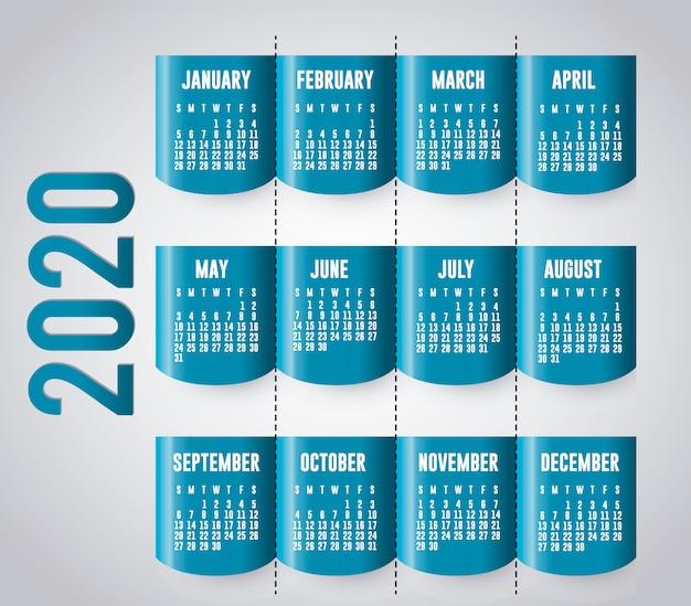 Design de vetor de planejador de calendário azul e prata 2020
