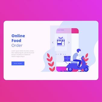 Design de vetor de site de página de aterragem de ordem de comida on-line