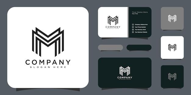 Design de vetor do logotipo da letra m com iniciais e cartão de visita