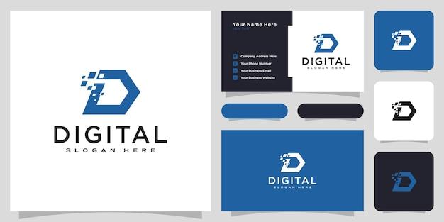 Design de vetor do logotipo digital da letra d iniciais e cartão de visita