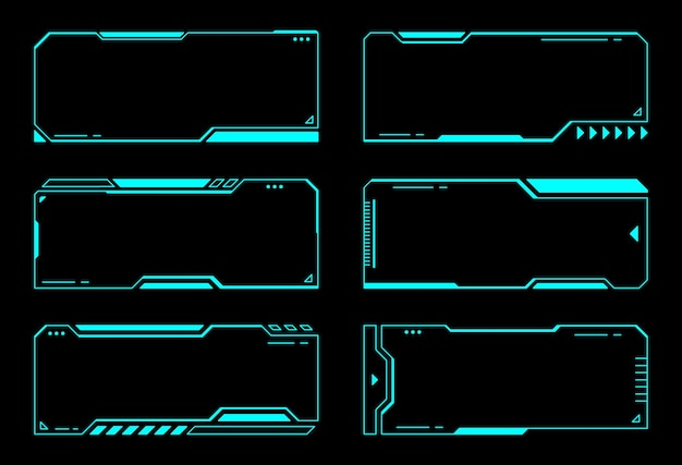 Design de vetor hud de interface futurista de tecnologia de quadros abstratos
