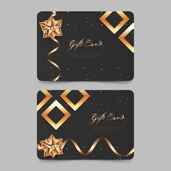 Design de voucher de presente elegante com cartão-presente de luxo dourado para promoção