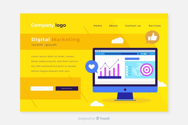 Design de web de página de destino de marketing digital