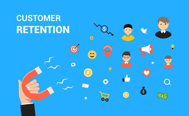 Design de web de vetor plana de retenção de cliente. conceito de retenção de estratégia de marketing de destino.