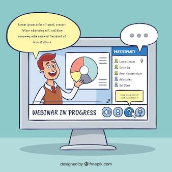 Design de webinar com computador