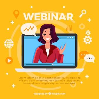 Design de webinar com mulher no laptop