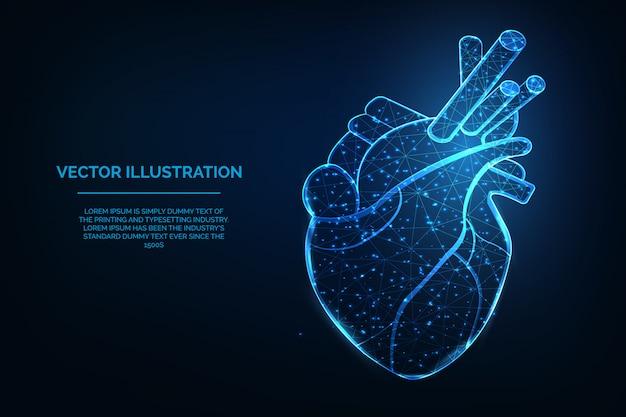 Design de wireframe azul poligonal baixo de coração humano