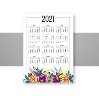 Design decorativo de calendário floral 2021 colorido