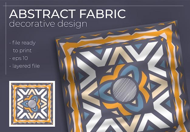 Design decorativo de tecido com mock-up realista para produção de impressão.