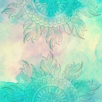Design decorativo floral com textura de aguarela