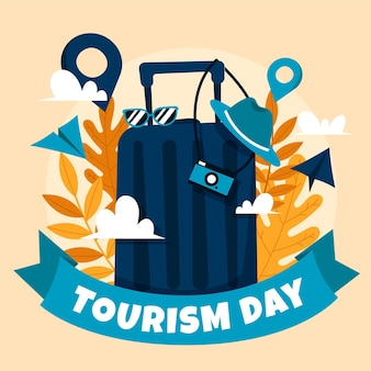 Design desenhado à mão do dia do turismo