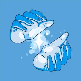 Design desenhado à mão para mãos curativas
