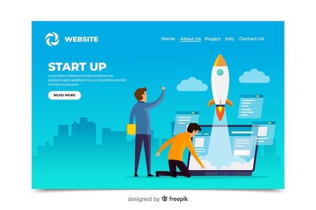 Design digital da página de destino da inicialização