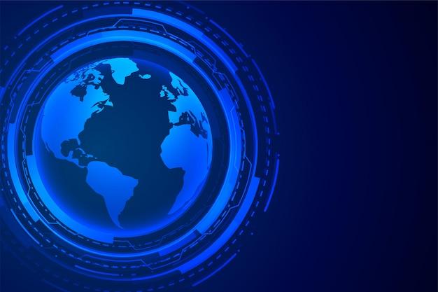 Design digital de tecnologia futurista terra azul
