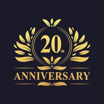 Design do 20º aniversário, luxuoso colorido dourado celebração do design do logotipo do aniversário de 20 anos.