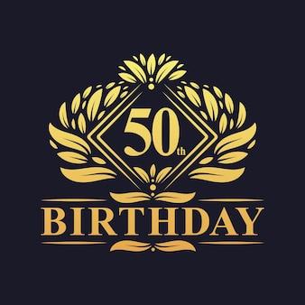 Design do 50º aniversário, luxuoso colorido dourado celebração do design do logotipo do aniversário de 50 anos.