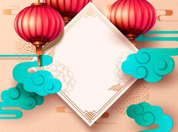 Design do ano lunar com dísticos de primavera e lanterna suspensa em papel artístico, copie o espaço para palavras de saudação