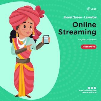 Design do banner do modelo de streaming online da rainha de jhansi laxmibai